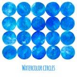 蓝色水彩圈子 库存图片