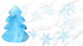 蓝色水彩圣诞树卡片 免版税库存图片