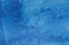 蓝色水彩被绘的纹理 图库摄影