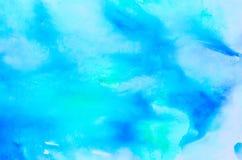 蓝色水彩被绘的背景纹理 库存照片