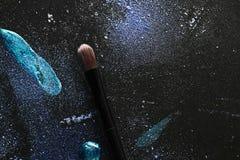 蓝色组成与组成刷子 图库摄影