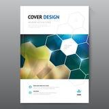 蓝色年终报告传单小册子飞行物模板A4大小设计,书套布局设计,抽象蓝色介绍 库存图片