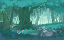 蓝色黄昏森林密林美妙的树荫导航背景森林用蘑菇 库存例证