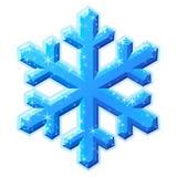 蓝色水晶光亮的雪花 库存图片