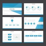 蓝色介绍模板Infographic元素平的设计为小册子飞行物传单行销设置了 免版税库存图片