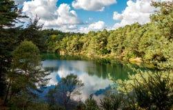 蓝色水池, Furzebrook,在多西特英国 免版税库存图片