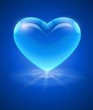 蓝色玻璃心脏 库存图片