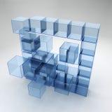 蓝色玻璃立方体 免版税库存照片