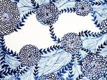 蓝色&白色刷子水彩绘画花花卉设计 库存照片