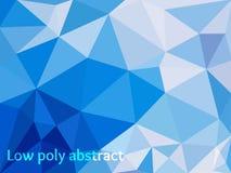 蓝色轻的多角形马赛克背景 库存照片