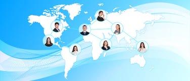 蓝色轻的映射世界 免版税库存照片