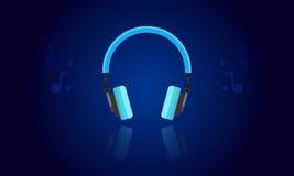 蓝色轻的耳机传染媒介 免版税库存照片