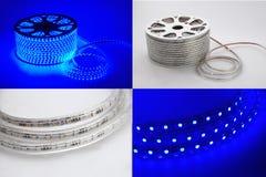 蓝色轻的被带领的传送带,被带领的小条,灯传送带,点燃传送带 库存图片