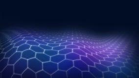 蓝色&紫色3D风景未来派六角形 向量例证