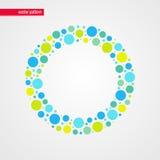 蓝色黄色和绿色婴孩起泡传染媒介样式 圈子形状框架标志 抽象愉快的夏天例证 库存照片