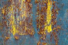 蓝色黄色铁锈纹理 库存图片
