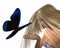 蓝色蝴蝶查出的若虫水 免版税库存照片