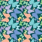 蓝色蝴蝶被延伸在无缝的模式 免版税图库摄影