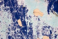 蓝色破裂的墙壁 图库摄影