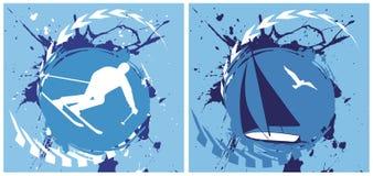 蓝色滑雪和游艇背景 免版税图库摄影