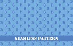 蓝色bitcoin无缝的样式 库存照片