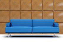 蓝色boiserie皮革沙发 库存图片