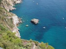 蓝色capri意大利 免版税图库摄影