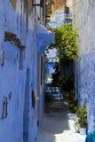 蓝色chefchaouen摩洛哥墙壁 库存照片