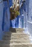 蓝色chefchaouen摩洛哥墙壁 免版税库存照片