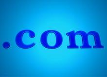 蓝色com发光的霓虹灯广告 免版税库存图片