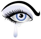 蓝色craying的眼睛 免版税库存图片