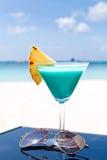 蓝色Curacao鸡尾酒 库存图片