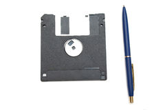 蓝色diskett笔 免版税库存图片