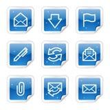 蓝色e光滑的图标邮寄系列贴纸万维网 库存图片