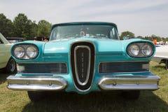 1958蓝色Edsel引证正面图 免版税库存图片