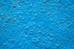 蓝色grunge被绘的表面纹理墙壁 免版税库存照片