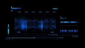 蓝色HUD声音录音接口图表元素 库存例证