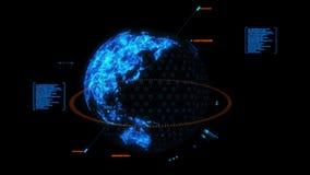 蓝色HUD 3D地球全息图接口图表元素