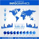 蓝色infographics。普遍传染媒介 免版税图库摄影