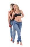 蓝色jeans1妇女 库存照片