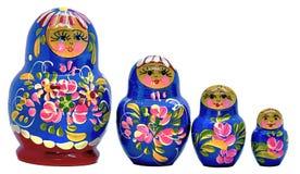蓝色Matryoshka,在白色背景的俄国玩偶 免版税库存图片