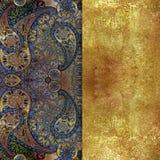 蓝色orientalt仿造了与金黄喷洒的织地不很细背景 免版税库存图片