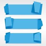 蓝色Origami横幅。 免版税库存照片