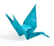蓝色Origami起重机 免版税库存图片