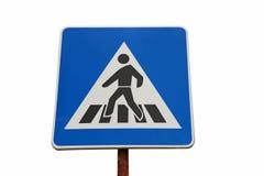 蓝色Pedestrain横穿标志 免版税库存照片