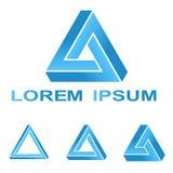 蓝色Pentrose三角技术公司符号集 向量例证