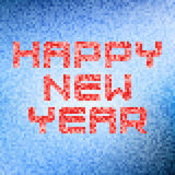 蓝色pixelated新年快乐样式 免版税库存图片