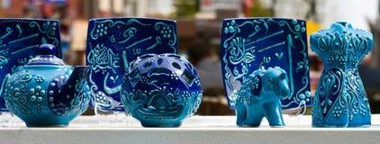 蓝色potterry 免版税库存照片