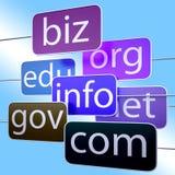 蓝色URL措辞显示Org企业Com Edu 免版税库存照片