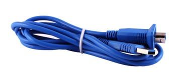 蓝色USB缆绳 免版税库存照片